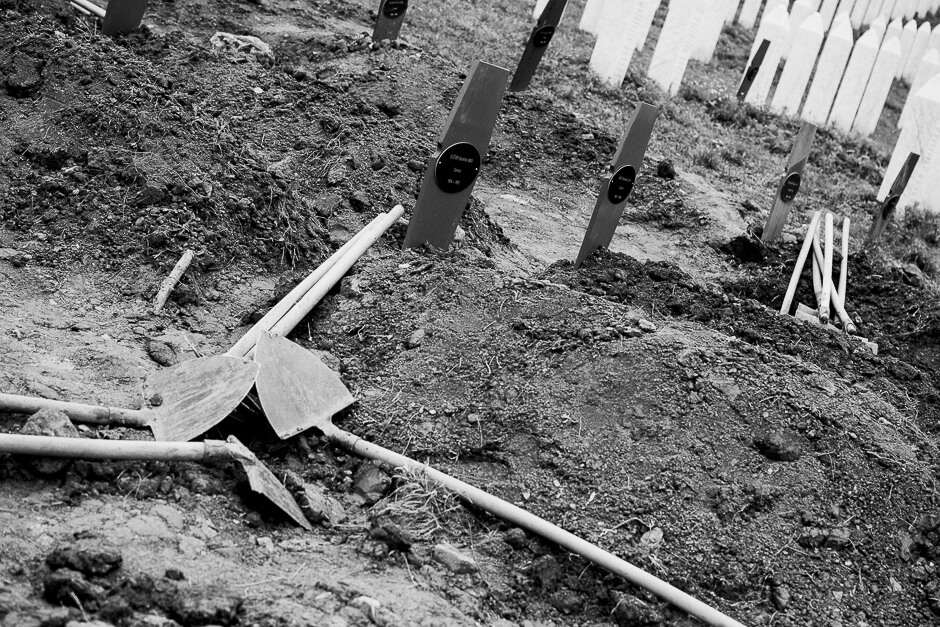 Fresh graves of newly identified victims of genocide at the Srebrenica Potočari Memorial site.