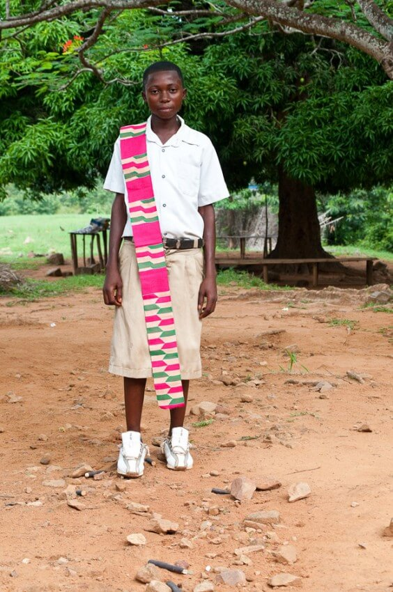 Boy with traditional cloth in rural in the Volta Region of Ghana.