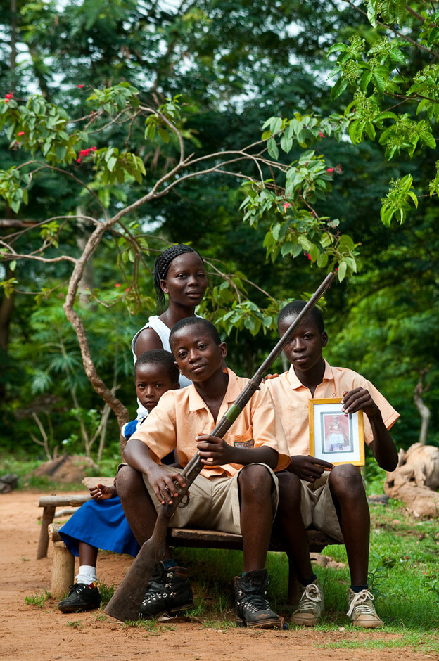 Family portrait in rural in the Volta Region of Ghana.