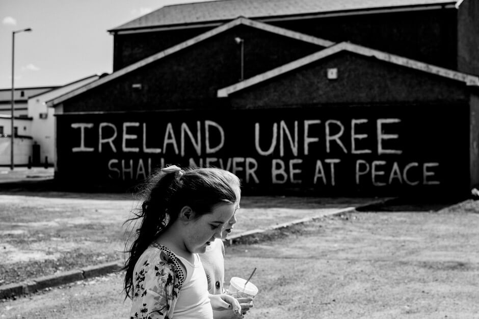 """Ireland unfree shall never be at peace"" (Patrick Pearse) - Dissident republican/IRA writing on the wall in Creggan area of Derry/Londonderry in Northern Ireland"