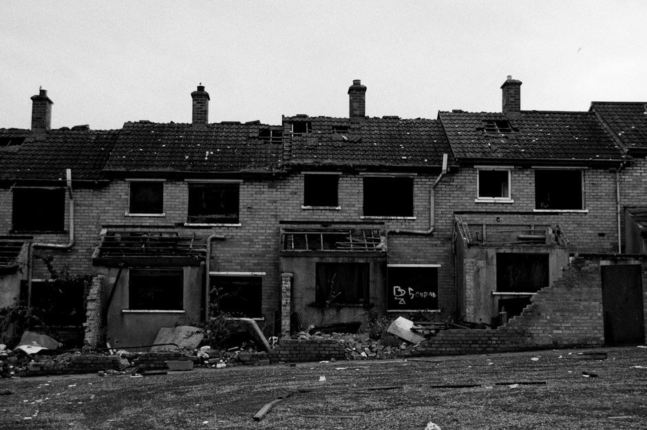 Abandoned houses in the loyalist Tigers Bay area of North Belfast.