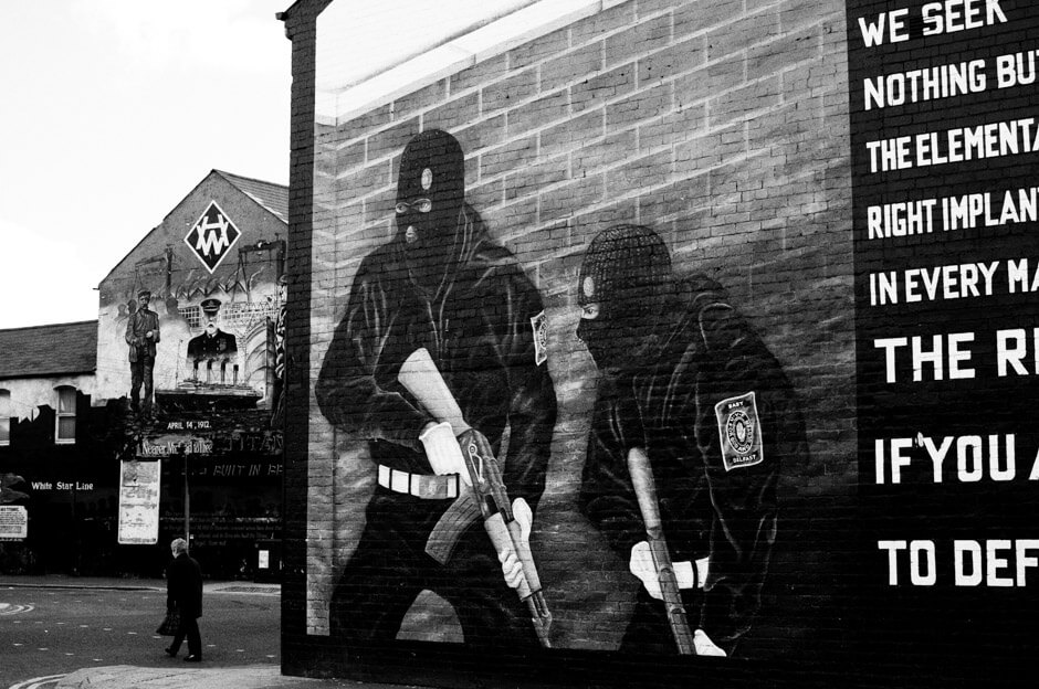 Loyalist paramilitary group Ulster Defence Association mural in East Belfast.