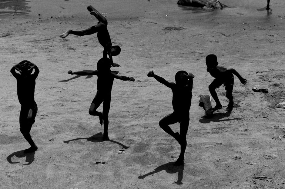 Boys playing on the beach in Winneba (Ghana/West Africa)