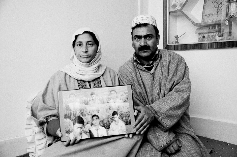 Parents of 16-year old Zahid Farooq who was shot to death by off-duty members of the indian army while he was playing cricket.