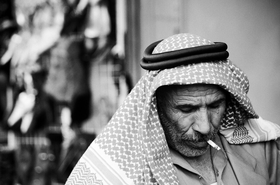 Palestinian man with a cigarette in East Jerusalem/Israel.