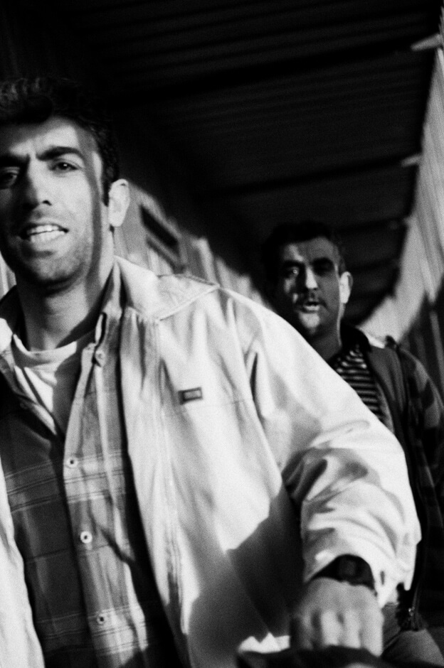 Palestinian workers at checkpoint near Bethlehem crossing into the West Bank from Israel.