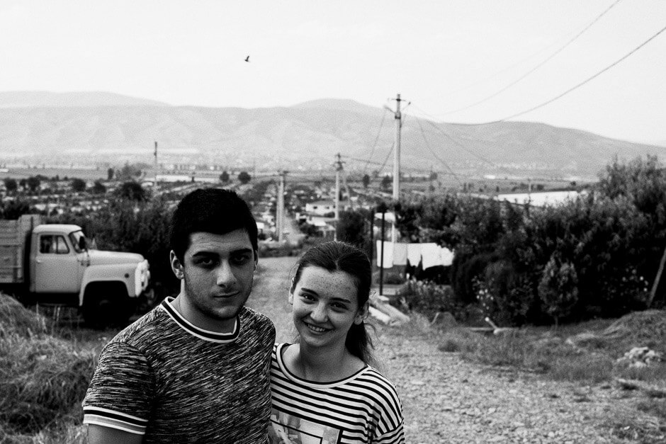 A young and newly married couple in Tserovani. People went to live here in small cottages after the Russia-Georgia war in August 2008.