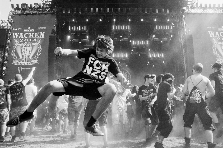 Metal fans in the mosh pit during the set of Bring Me The Horizon at Wacken Open Air 2014.