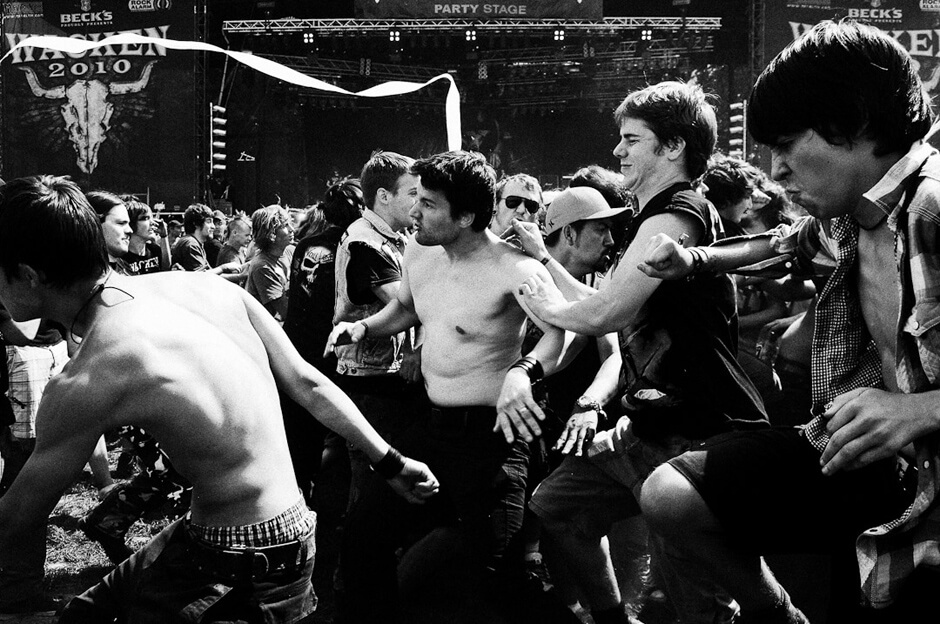 Metal fans in the mosh pit at Wacken Open Air 2010.