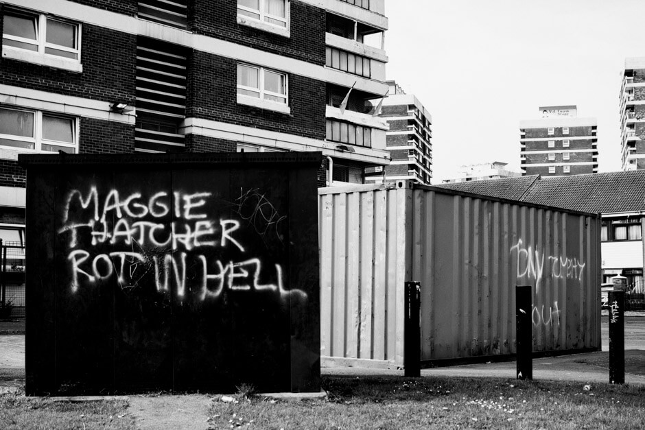 """Maggie Thatcher rot in hell""-graffiti in the Irish Republican neighborhood New Lodge in Belfast."