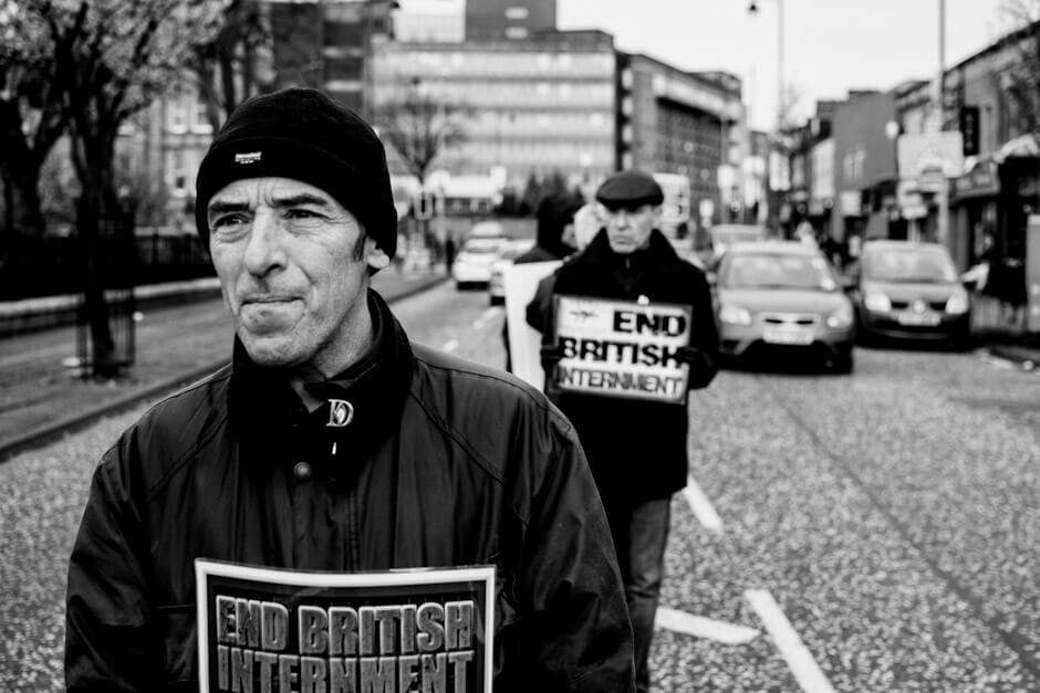 Former POW and hunger striker Gerrad Hodgins at IRPWA protest in support of IRA prisoners in Belfast.
