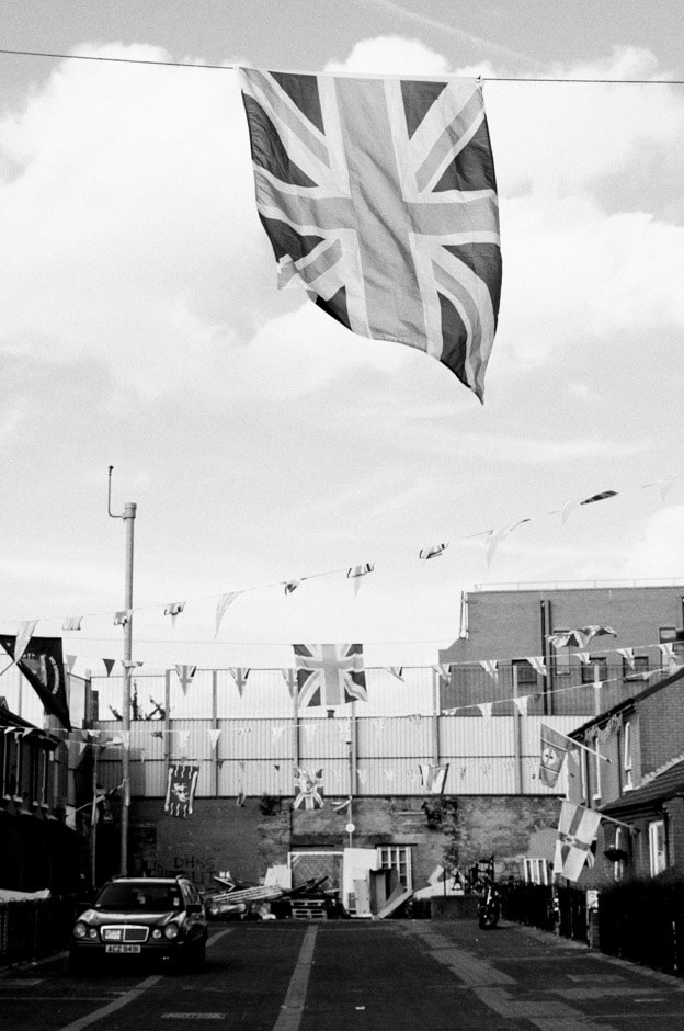 The small Loyalist Cluan place nest to Nationalist enclave on the 12th of July in East Belfast.