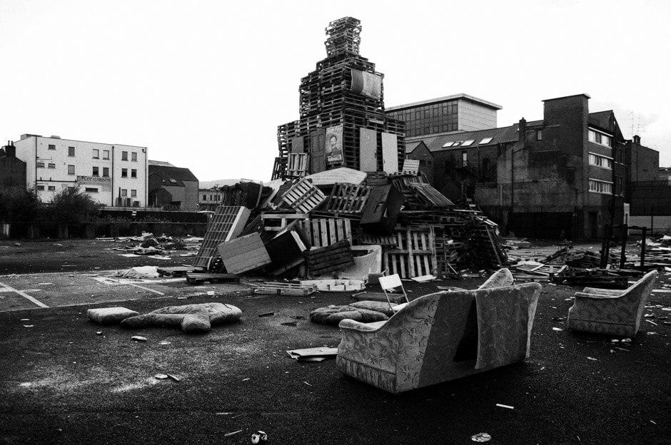 Loyalist bonfire in the Village area of South Belfast.