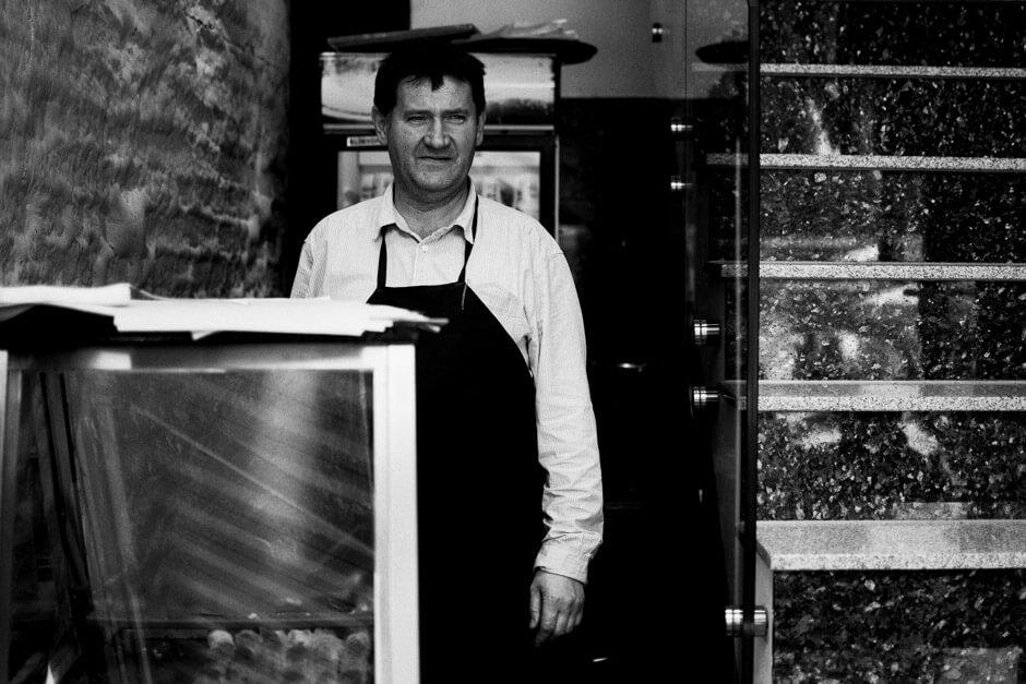 Bosniak in his popular burek shop in Prizren.