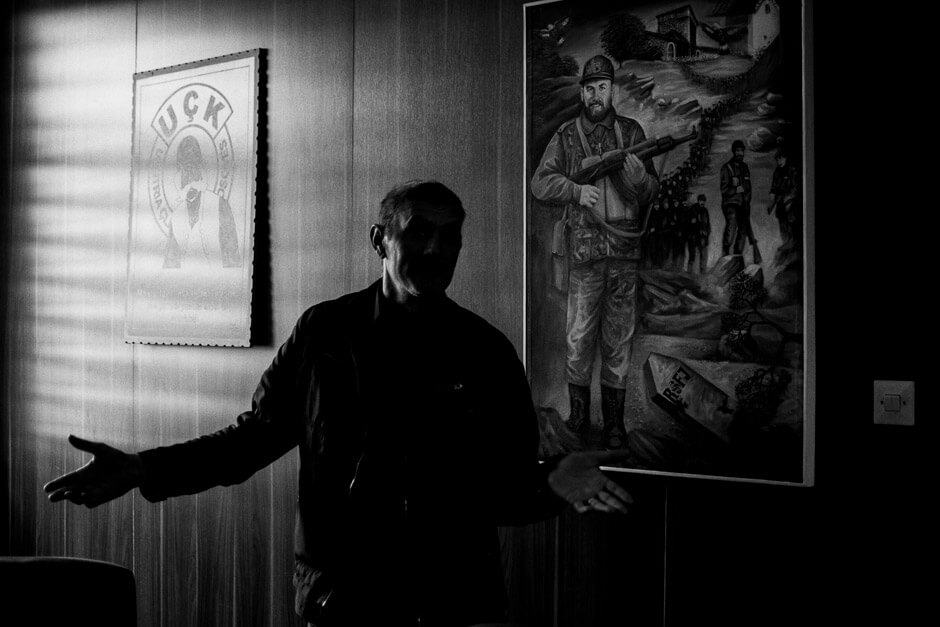 UÇK veteran and television actor Lalushi at the veterans organizations headquarters in Prishtina.